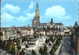 Antwerpen-Anvers-Groenplaats-Zicht-op-de-kathedraal-Kat